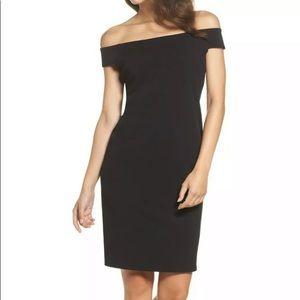 Eliza J off shoulder black sheath dress NWT 7446
